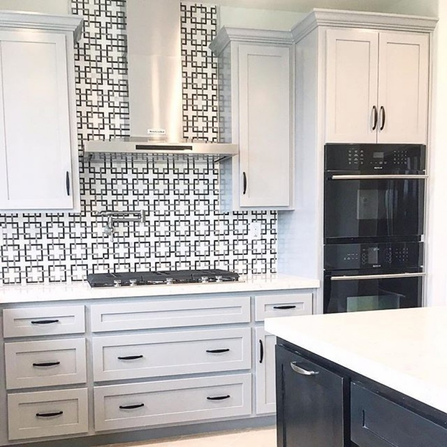 modern kitchen with geometric backsplash