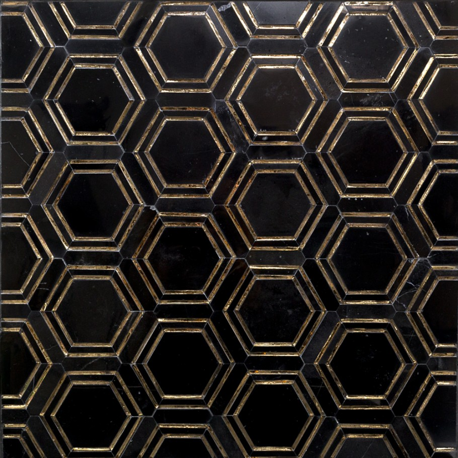 brass and marble hexagon tile