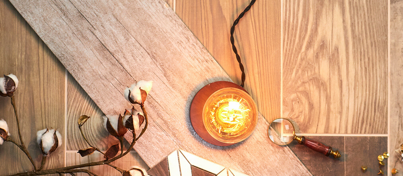 wood look tile with a warming light