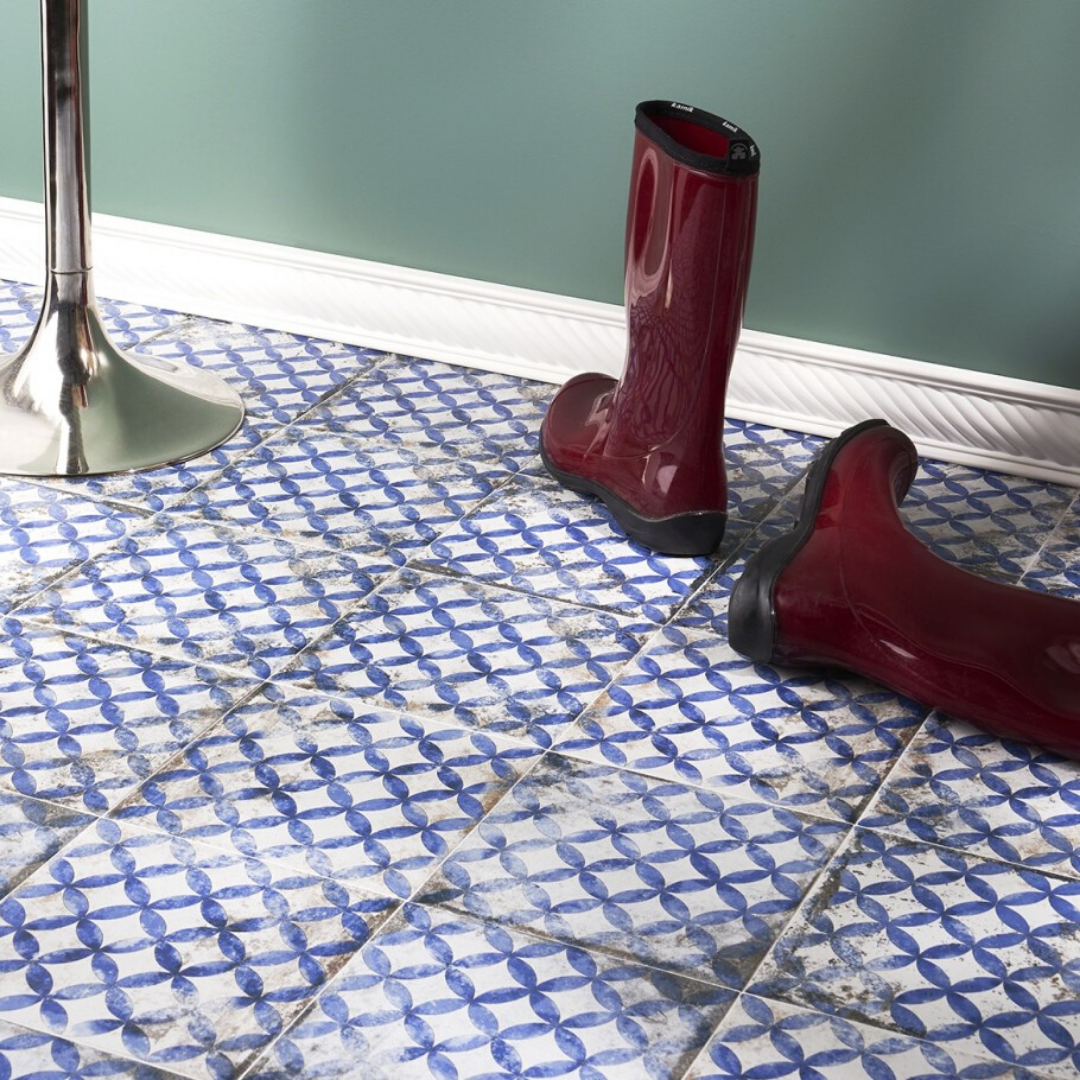 Worn-In Encaustic Look Porcelain Tile with rainboots