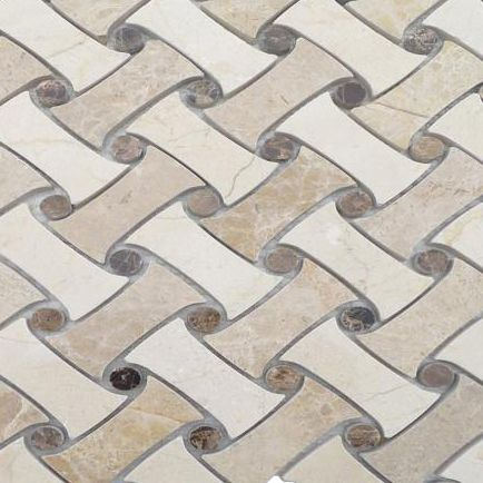 Filigree Maize Mosaic; in Cream + Brown Emperador & Crema Marfil; for Backsplash, Floor Tile, Wall Tile, Bathroom Floor, Bathroom Wall, Shower Wall, Shower Floor, Outdoor Wall, Commercial Floor; in Style Ideas Classic, Craftsman, Traditional