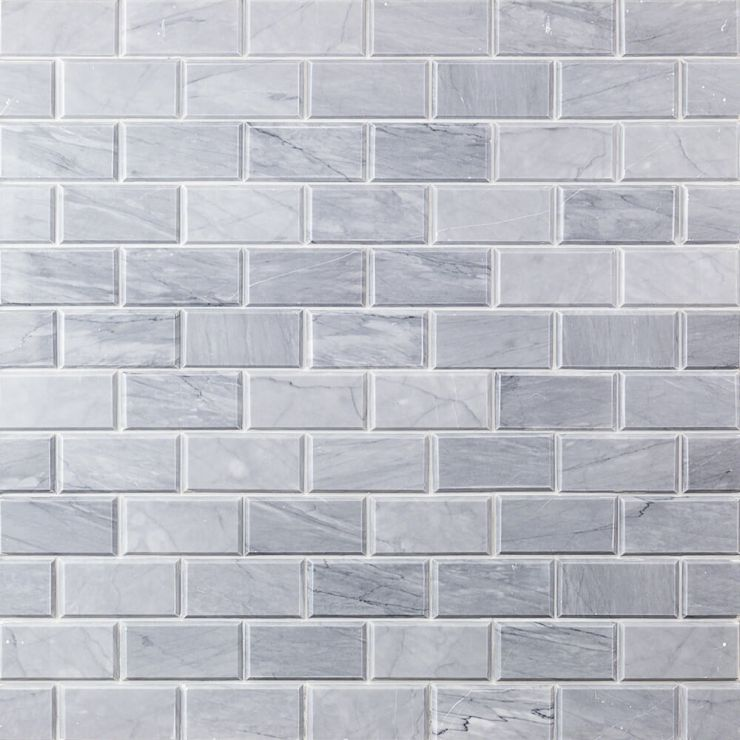 Halley Gray 2X4 Beveled Marble Mosaic; in Gray Halley Gray; for Backsplash, Wall Tile, Bathroom Wall, Shower Wall, Shower Floor, Outdoor Wall; in Style Ideas Industrial, Traditional