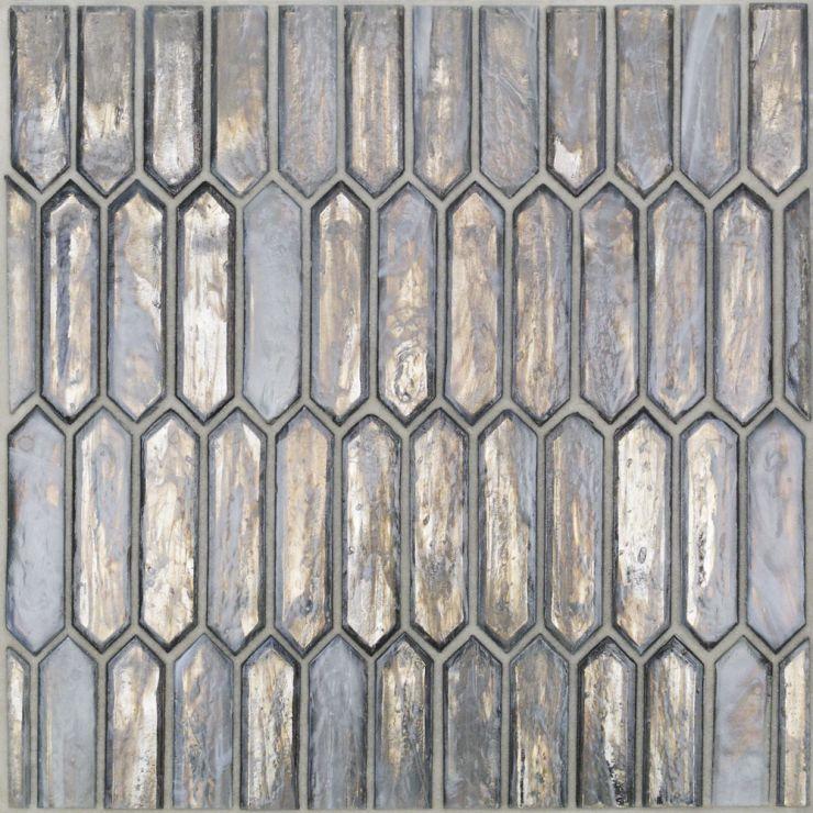 Komorebi Mineral Ice Gray Mosaic; in Gray  Glass; for Backsplash, Wall Tile, Bathroom Wall, Shower Wall; in Style Ideas Beach, Contemporary, Mediterranean