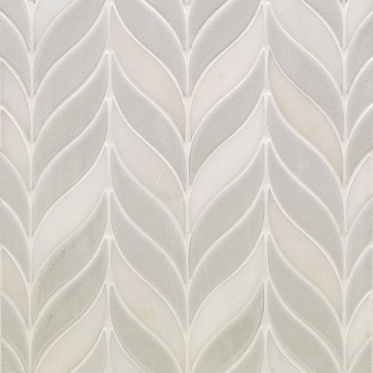 Nabi Sprig Glacier White Mosaic; in Gray Ceramic + Marble (White Jade); for Backsplash, Wall Tile, Bathroom Wall, Shower Wall; in Style Ideas Contemporary, Cottage, Farmhouse, Modern, Tropical