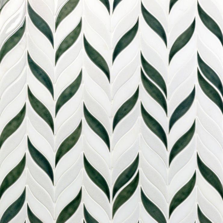 Nabi Sprig  Deep Emerald Mosaic; in Green+White Ceramic ; for Backsplash, Wall Tile, Bathroom Wall, Shower Wall; in Style Ideas Contemporary, Cottage, Farmhouse, Modern, Tropical