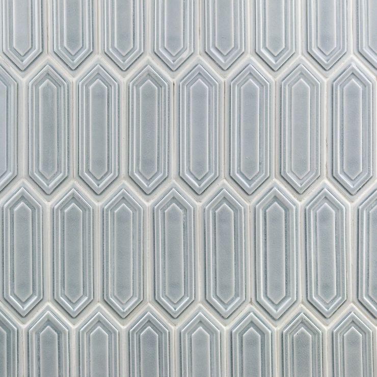 Nabi Hexagon Arctic Blue 3x9 Mosaic; in Blue Ceramic ; for Backsplash, Wall Tile, Bathroom Wall, Shower Wall; in Style Ideas Classic, Cottage, Farmhouse, Mid Century