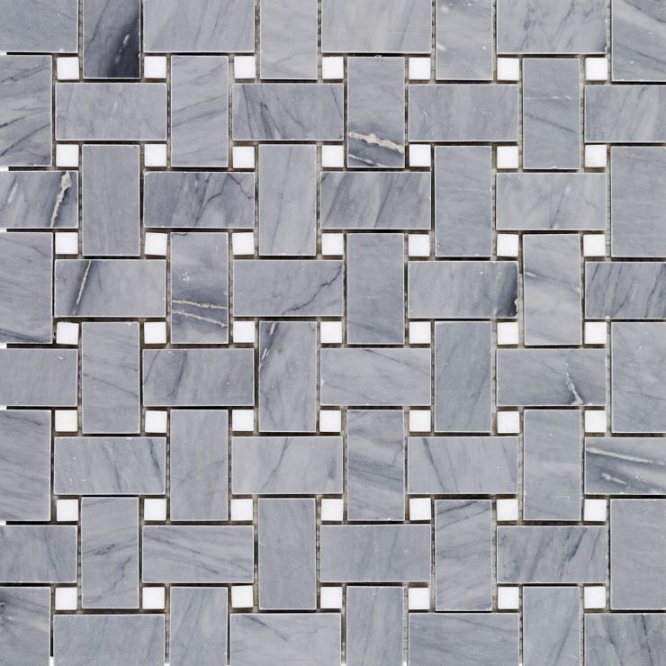 Halley Gray Basket Weave Mosaic; in Gray & White Halley Gray & Thassos; for Backsplash, Floor Tile, Wall Tile, Bathroom Floor, Bathroom Wall, Shower Wall, Shower Floor, Outdoor Wall, Commercial Floor; in Style Ideas Classic, Craftsman, Traditional