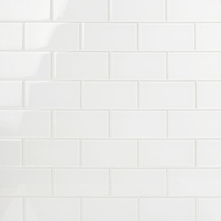 Loft Super White 3X6 Polished; in White with a hint of greenish hue Glass; for Backsplash, Wall Tile, Bathroom Wall, Shower Wall, Outdoor Wall, Pool Tile; in Style Ideas Beach, Classic, Farmhouse, Traditional