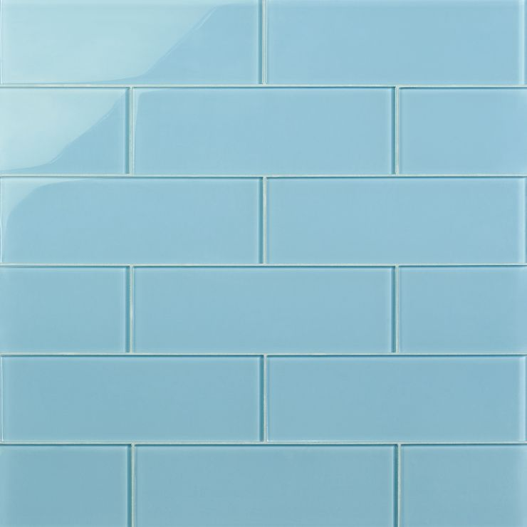 Loft Turquoise 4X12 Polished; in Blue Glass; for Backsplash, Wall Tile, Bathroom Wall, Shower Wall, Outdoor Wall, Pool Tile; in Style Ideas Beach, Classic, Farmhouse, Transitional