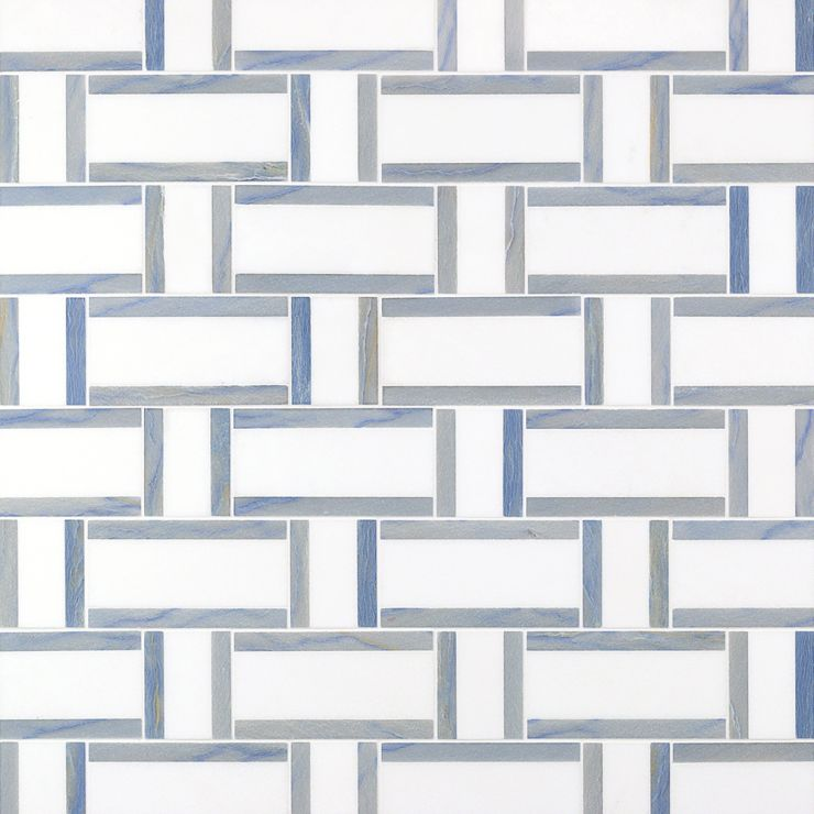 Esplanade Winter Lake Mosaic; in Blue & White Blue Marble & Thassos; for Backsplash, Floor Tile, Wall Tile, Bathroom Floor, Bathroom Wall, Shower Wall, Shower Floor, Outdoor Wall, Commercial Floor; in Style Ideas Classic, Craftsman, Contemporary