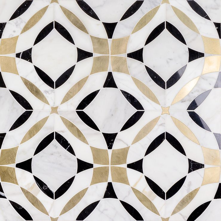 Kaleidoscope Magnifique Marble Tile Mosaic; in White, Black, Brass Black Marble + Brass + White Marble; for Backsplash, Wall Tile, Bathroom Wall; in Style Ideas Mid Century