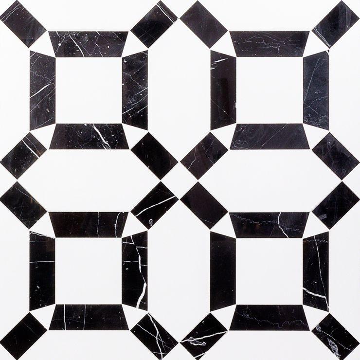 Coptic Black & White Mosaic; in Black & White Black Marble; for Backsplash, Floor Tile, Kitchen Floor, Kitchen Wall, Wall Tile, Bathroom Floor, Bathroom Wall, Shower Wall, Shower Floor, Outdoor Wall, Commercial Floor; in Style Ideas Art Deco, Mid Century, Modern, Whimsical