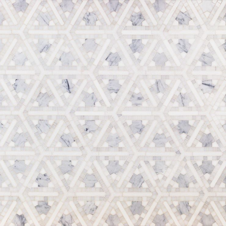 Winter Fresco Mosaic; in White Thassos & Carrara; for Backsplash, Floor Tile, Wall Tile, Bathroom Floor, Bathroom Wall, Shower Wall, Shower Floor, Outdoor Wall, Commercial Floor; in Style Ideas Art Deco, Craftsman, Contemporary, Modern, Transitional