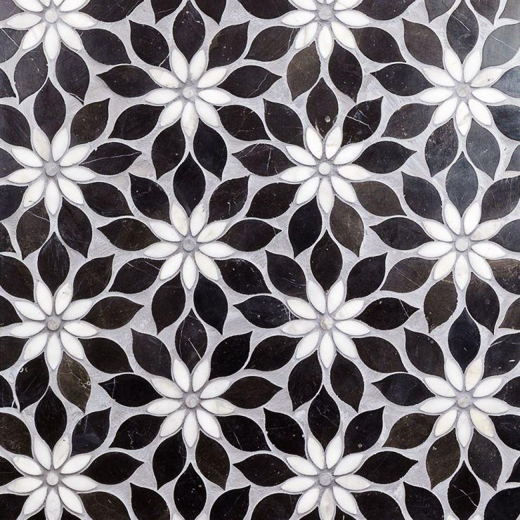 Wildflower Black Horizon Mosaic; in Black, White, Gray Calacatta & Jade; for Backsplash, Wall Tile, Bathroom Wall, Shower Wall, Outdoor Wall; in Style Ideas Farmhouse, Mid Century, Tropical