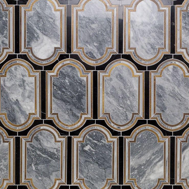 Inara Kentucky Haze Mosaic; in Gray + Brass + Black Bardiglio & Black Marble; for Backsplash, Wall Tile, Bathroom Wall; in Style Ideas Art Deco, Mid Century, Modern