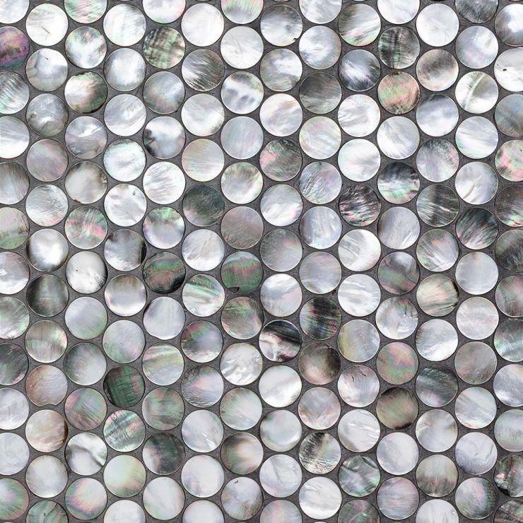 Deep Sea Black Penny Mosaic; in Black & Pearl Pearl; for Backsplash, Wall Tile, Bathroom Wall, Shower Wall; in Style Ideas Beach