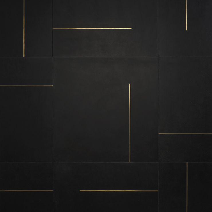 Lines Brass Inlay Black 24X24 Matte; in Black Porcelain ; for Backsplash, Floor Tile, Wall Tile, Bathroom Floor, Bathroom Wall, Shower Wall, Outdoor Wall, Commercial Floor; in Style Ideas Contemporary, Industrial, Mid Century, Modern