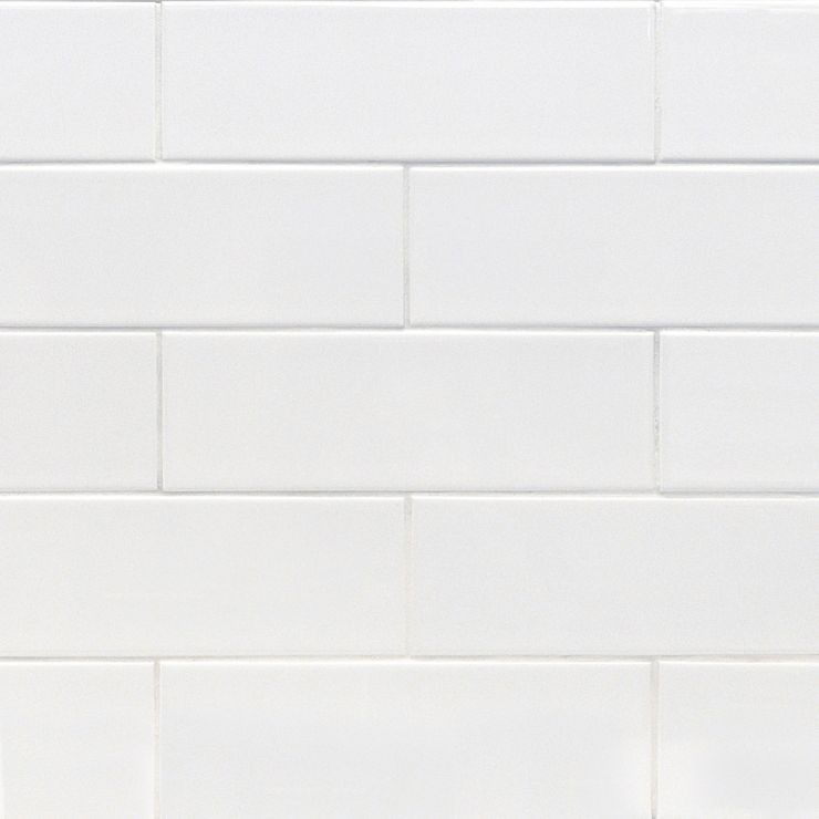 Basic White 4X12 Polished; in White Ceramic; for Backsplash, Wall Tile, Bathroom Wall, Shower Wall; in Style Ideas Beach, Classic, Craftsman, Cottage, Farmhouse, Mid Century, Modern, Traditional, Transitional