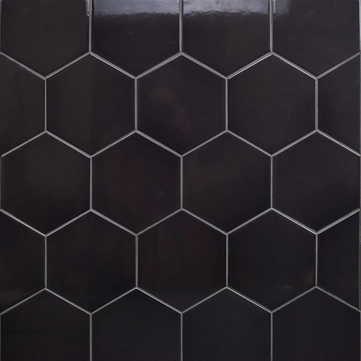 Exagoni Puro Grafito Polished; in Dark Gray Ceramic; for Backsplash, Kitchen Wall, Wall Tile, Bathroom Wall, Shower Wall; in Style Ideas Art Deco, Contemporary, Industrial, Mid Century, Modern, Transitional