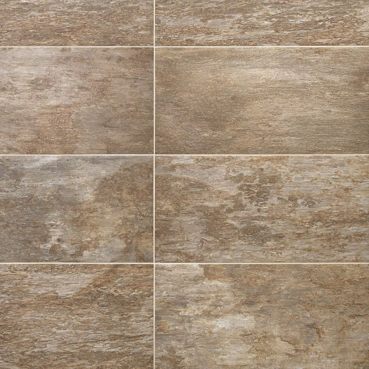 Willow  Augustine 12X24 ; in Brown + Tan Porcelain; for Backsplash, Floor Tile, Wall Tile, Bathroom Floor, Bathroom Wall, Shower Wall, Outdoor Floor, Outdoor Wall, Commercial Floor; in Style Ideas Rustic, Farmhouse, Traditional
