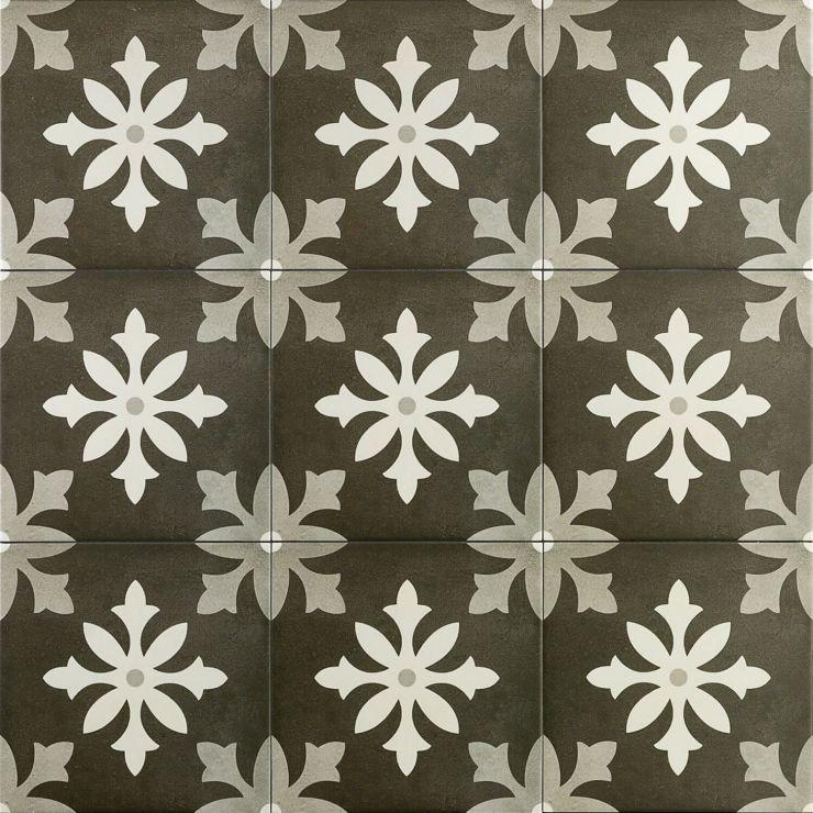 Bella Picasso Nero 9X9; in Gray + White  Porcelain ; for Backsplash, Floor Tile, Wall Tile, Bathroom Floor, Bathroom Wall, Shower Wall, Shower Floor, Outdoor Floor, Outdoor Wall, Commercial Floor; in Style Ideas Farmhouse, Mid Century