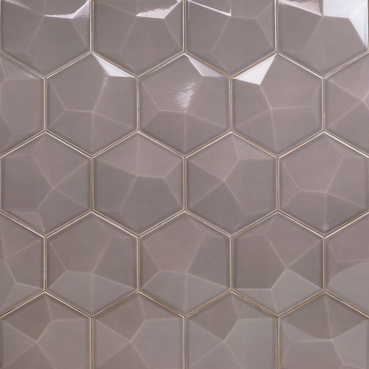 Exagoni Dimension  3D Nude Polished; in Gray Ceramic; for Backsplash, Wall Tile, Bathroom Wall, Shower Wall; in Style Ideas Contemporary, Whimsical