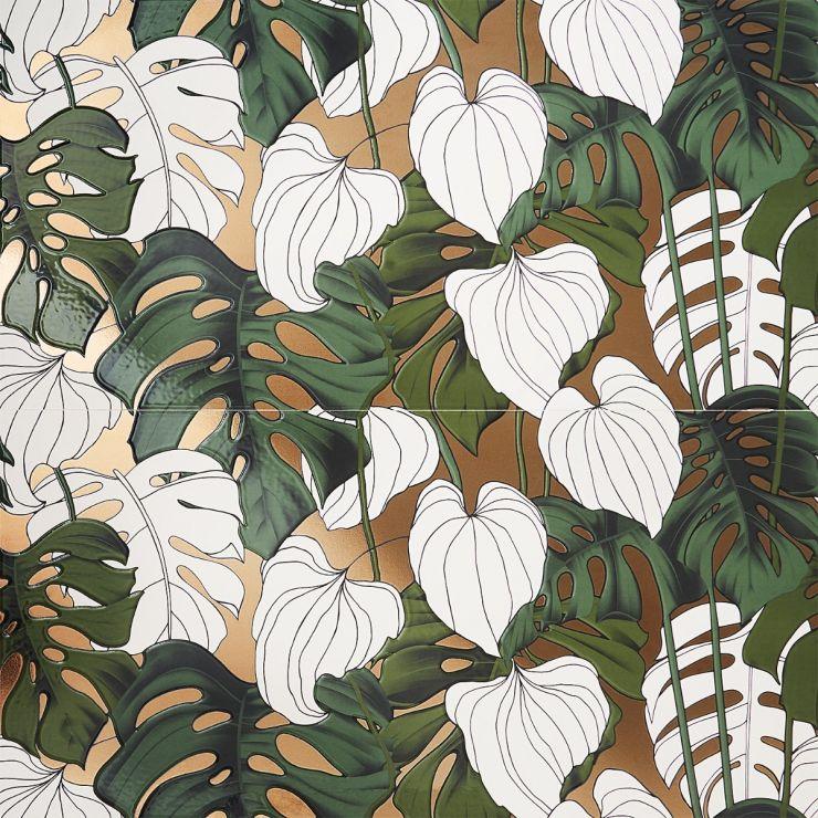 Tropez Foliage  Blanco 24x48 Artisan Decor Porcelain; in Gold + Green + White  Porcelain; for Backsplash, Wall Tile, Bathroom Wall, Shower Wall, Pool Tile; in Style Ideas Art Deco, Beach, Modern, Tropical, Whimsical