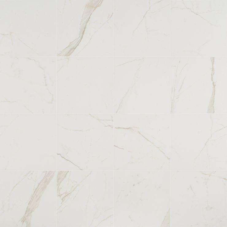 Versilia Calacatta Oro Matte 12X12 Porcelain; in White w/ Gray & Gold Veins Porcelain; for Backsplash, Floor Tile, Wall Tile, Bathroom Floor, Bathroom Wall, Shower Wall, Commercial Floor; in Style Ideas Art Deco, Craftsman, Modern, Tropical
