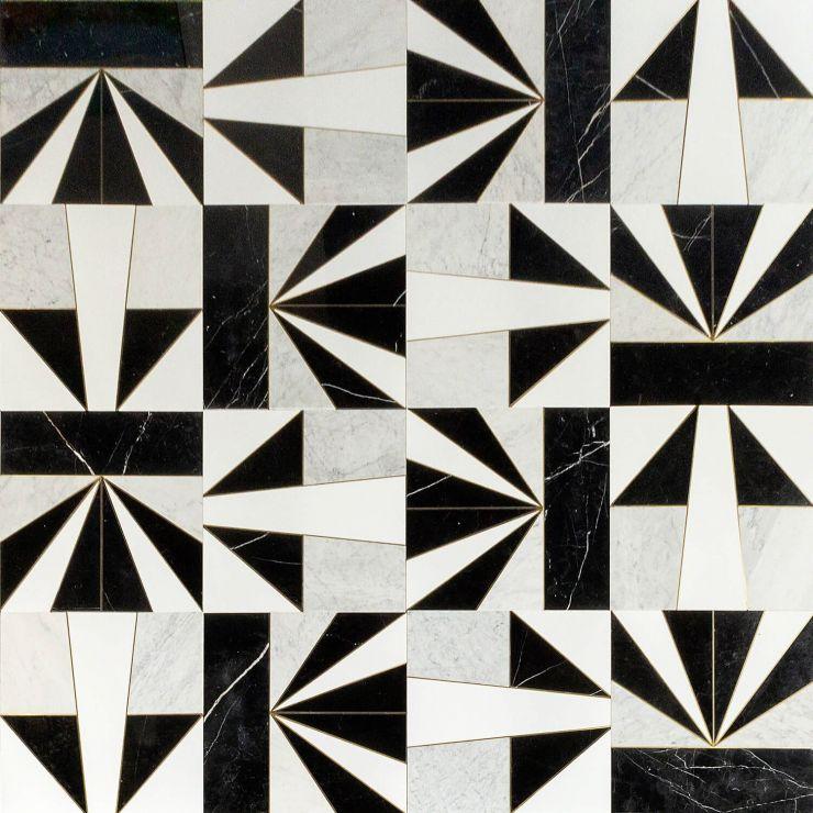Art Deco Ponte Starburst Mixed; in Black + White + Brass Black Marble & Asian Statuary; for Backsplash, Floor Tile, Wall Tile, Bathroom Floor, Bathroom Wall, Shower Wall, Shower Floor, Outdoor Wall, Commercial Floor; in Style Ideas Art Deco, Mid Century