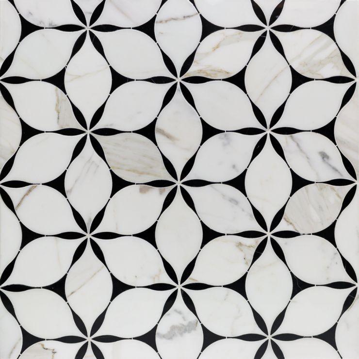 Evangeline   Mosaic; in Black + White  Black Marble & Calacatta; for Backsplash, Floor Tile, Kitchen Floor, Kitchen Wall, Wall Tile, Bathroom Floor, Bathroom Wall, Shower Wall, Shower Floor, Outdoor Wall, Commercial Floor; in Style Ideas Mid Century