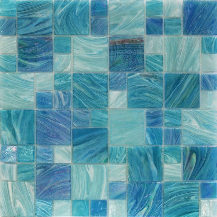 Aquatic Sky Blue French Mosaic; in Shades of Blue + Iridescence Glass; for Backsplash, Wall Tile, Bathroom Wall, Shower Wall, Outdoor Wall, Pool Tile; in Style Ideas Beach, Classic