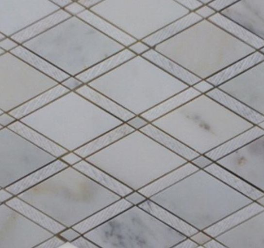 Imperial Textured Asian Statuary Polished Marble Mosaic; in White base with gray and gold veining Asian Statuary; for Backsplash, Floor Tile, Wall Tile, Bathroom Floor, Bathroom Wall, Shower Wall, Outdoor Wall, Commercial Floor; in Style Ideas Craftsman, Traditional