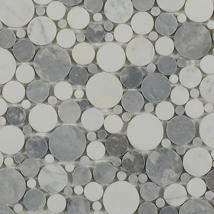 Kinetic Fog Circles Mosaic; in White Carrera, White Thassos Carrara, White Thassos; for Backsplash, Floor Tile, Wall Tile, Bathroom Floor, Bathroom Wall, Shower Wall, Outdoor Wall, Commercial Floor; in Style Ideas Craftsman, Transitional, Whimsical
