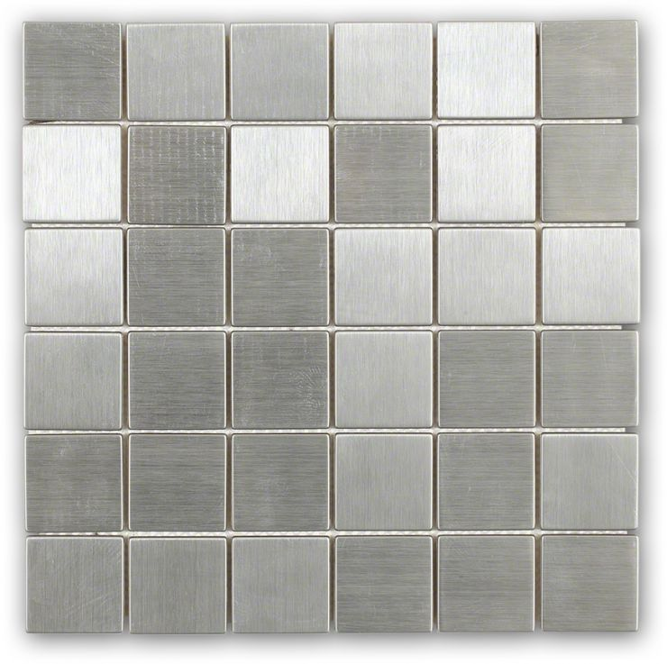 Metal Silver Stainless Steel 2X2 Mosaic; in Silver Metal; for Backsplash, Wall Tile, Bathroom Wall; in Style Ideas Rustic, Industrial, Mid Century