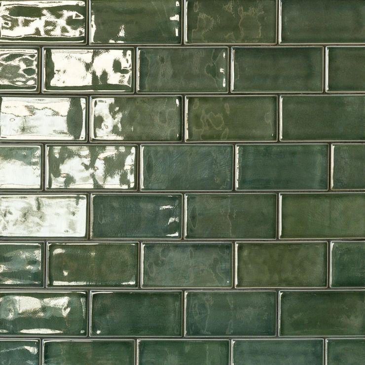 Nabi 3X6 Deep Emerald Green; in Green Ceramic ; for Backsplash, Wall Tile, Bathroom Wall, Shower Wall; in Style Ideas Craftsman, Farmhouse, Transitional