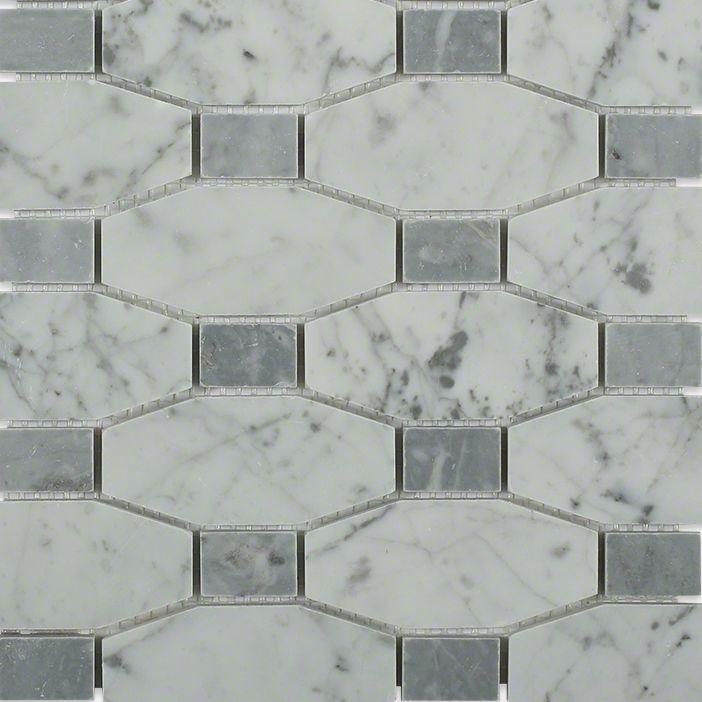 Octave Carrara W Bardiglio Mosaic; in White w/Gray Carrara & Bardiglio; for Backsplash, Floor Tile, Wall Tile, Bathroom Floor, Bathroom Wall, Shower Wall, Outdoor Wall, Commercial Floor; in Style Ideas Contemporary, Farmhouse, Traditional