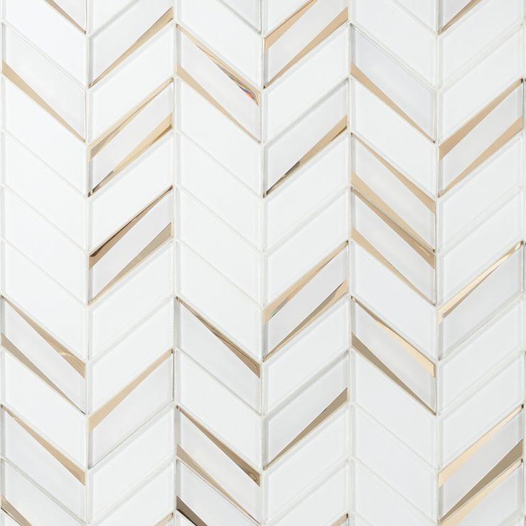 Kasol Roma Mirrored Glass Mosaic; in White  Glass ; for Backsplash, Wall Tile, Bathroom Wall; in Style Ideas Art Deco, Mid Century, Modern