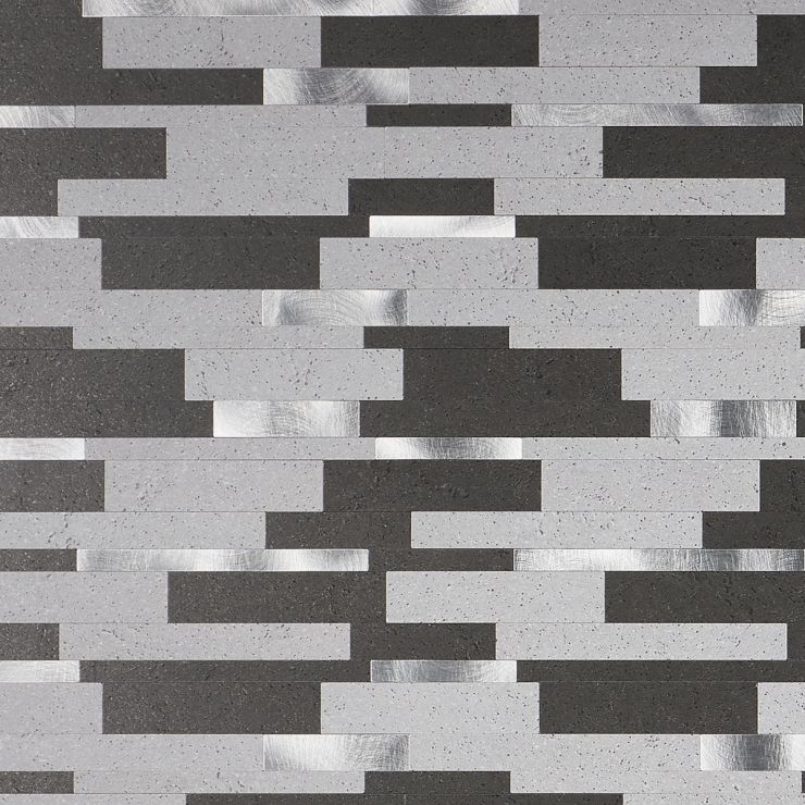 in Gray + Black + Silver Aluminum + Solid Polymer Core (SPC); for Backsplash, Wall Tile, Bathroom Wall; in Style Ideas Rustic, Contemporary, Industrial, Modern