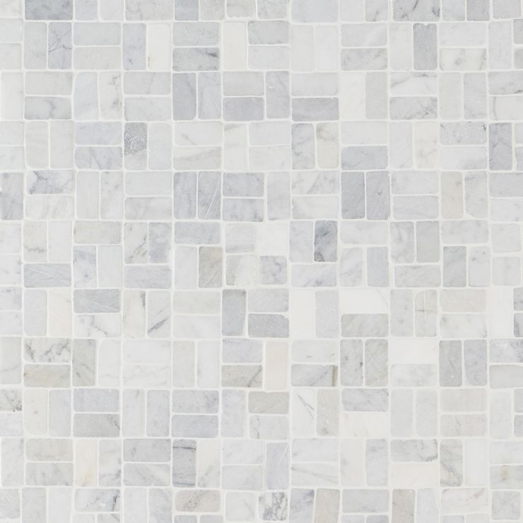 Nature Antique Pebble Carrara Mosaic; in White Marble; for Backsplash, Floor Tile, Wall Tile, Bathroom Floor, Bathroom Wall, Shower Wall, Shower Floor, Outdoor Floor, Outdoor Wall, Commercial Floor; in Style Ideas Classic, Contemporary, Farmhouse, Mediterranean, Tropical; released 2021; new, trends