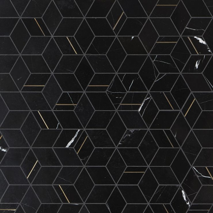 Morgana Nero Polished Marble and Brass Mosaic; in Black Nero Marquina and Brass; for Backsplash, Wall Tile, Bathroom Wall, Outdoor Wall; in Style Ideas Art Deco, Contemporary, Mid Century, Modern; released 2021; new, trends