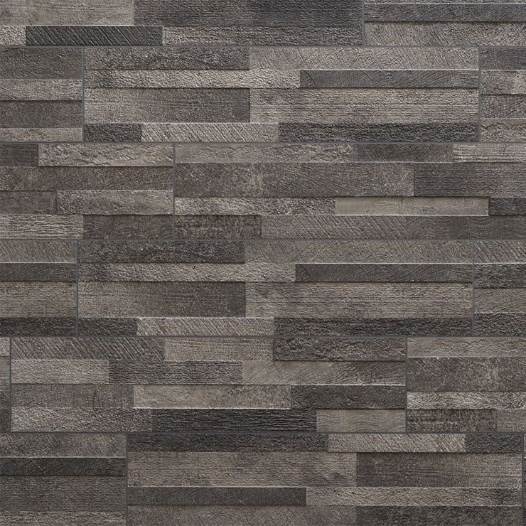 Lodge Stone 3D Dark 6x24 Textured Porcelain Wall Tile; in Dark Gray Porcelain; for Backsplash, Wall Tile, Bathroom Wall, Shower Wall, Outdoor Wall; in Style Ideas Rustic, Farmhouse, Industrial