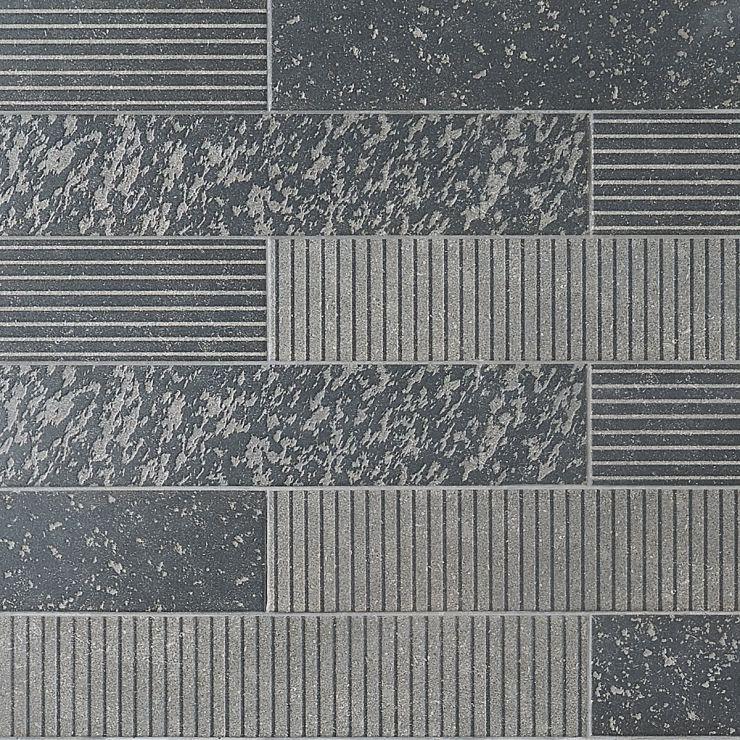 Texstone Antracita Deco 4x19 Matte Porcelain Tile ; in Black Porcelain; for Backsplash, Floor Tile, Wall Tile, Bathroom Floor, Bathroom Wall, Shower Wall, Shower Floor, Outdoor Wall, Commercial Floor, Pool Tile; in Style Ideas Rustic, Craftsman, Industrial, Modern