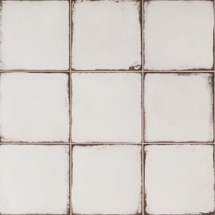 Los Lunas White 8x8 Matte Porcelain; in White  Porcelain ; for Backsplash, Floor Tile, Wall Tile, Bathroom Floor, Bathroom Wall, Shower Wall, Outdoor Floor, Outdoor Wall, Commercial Floor; in Style Ideas Rustic, Beach, Cottage, Farmhouse, Mid Century, Mediterranean, Traditional, Tropical