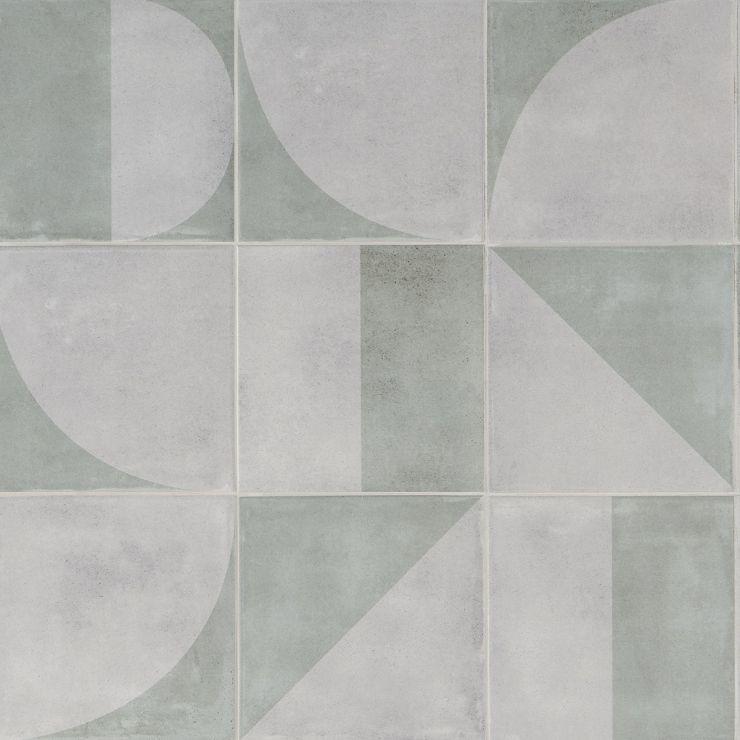 Brando  Green 8x8 Matte Porcelain; in Green  Porcelain; for Backsplash, Wall Tile, Bathroom Floor, Bathroom Wall, Shower Wall, Shower Floor, Outdoor Wall, Commercial Floor; in Style Ideas Farmhouse, Mid Century