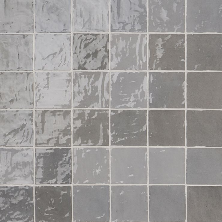 Portmore Gray 4x4 Glazed Ceramic Tile ; in Gray Ceramic; for Backsplash, Wall Tile, Bathroom Wall, Shower Wall, Outdoor Wall; in Style Ideas Beach, Craftsman, Contemporary, Farmhouse, Mediterranean, Traditional