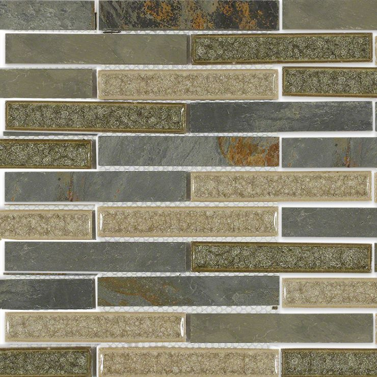 Emperial Roman Slate 1x6 Brick Mosaic; in Cream + Forest Green + Multicolor Crushed Glass + Slate; for Backsplash, Wall Tile, Bathroom Wall, Shower Wall; in Style Ideas Craftsman, Modern