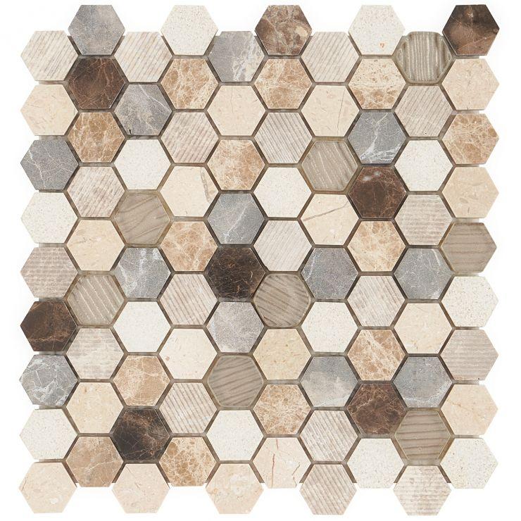 Esker Windrift Hexagon Mosaic; in Dark + Light Brown + Cream + Metallic Gold Marble + Glass; for Backsplash, Wall Tile, Bathroom Wall, Shower Wall; in Style Ideas Art Deco, Beach, Modern, Tropical, Whimsical