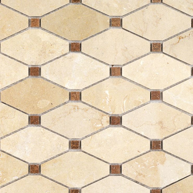 Octave Jerusalem Gold 2x4 Mosaic; in Jerusalem Gold + Wood Onyx Jerusalem Gold & Onyx; for Backsplash, Floor Tile, Wall Tile, Bathroom Floor, Bathroom Wall, Shower Wall, Shower Floor, Outdoor Wall, Commercial Floor; in Style Ideas Contemporary, Farmhouse, Traditional