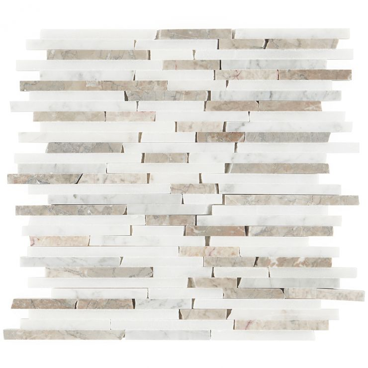 Cracked Joint Vanilla Chai Mosaic; in White Carrara, Snow White, Bluish Gray Marble; for Backsplash, Floor Tile, Wall Tile, Bathroom Floor, Bathroom Wall, Shower Wall, Outdoor Wall, Commercial Floor; in Style Ideas Rustic, Classic, Craftsman, Cottage, Farmhouse, Mediterranean, Traditional