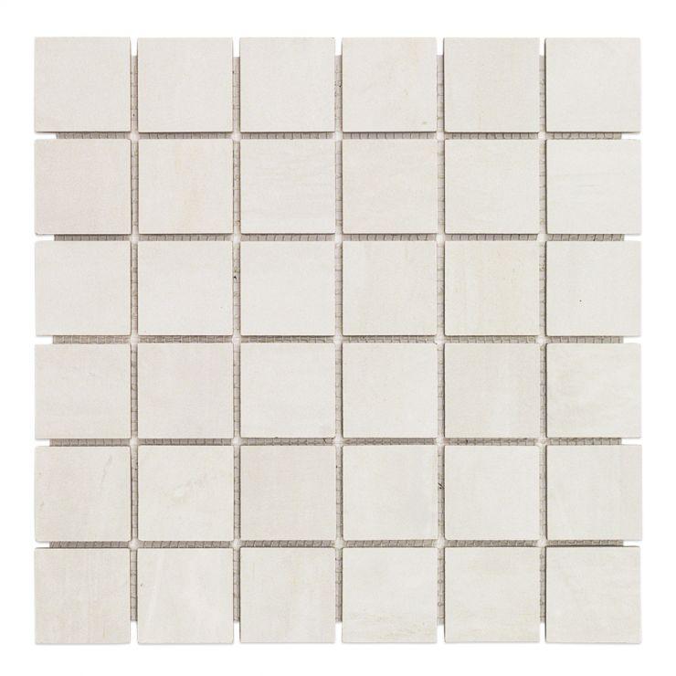 Instinct White 2X2 Mosaic; in Off White Porcelain; for Backsplash, Floor Tile, Wall Tile, Bathroom Floor, Bathroom Wall, Shower Wall, Shower Floor, Outdoor Floor, Outdoor Wall, Commercial Floor; in Style Ideas Industrial, Modern, Transitional